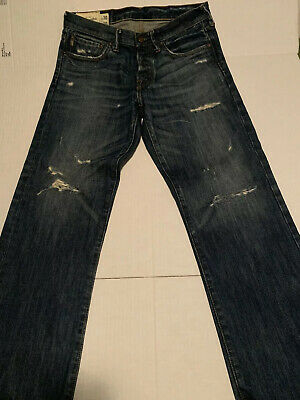 Abercrombie & Fitch Kilburn Low Rise Boot Distressed Blue Jeans 30x30 A&F MEN's