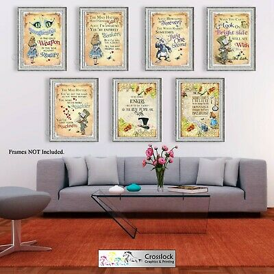 Alice In Wonderland Quotes Living Room Poster Prints Vintage Wall Pictures A4 A3