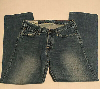 Abercrombie & Fitch Kilburn Low Rise Boot Button Fly 30x30 Blue Jeans