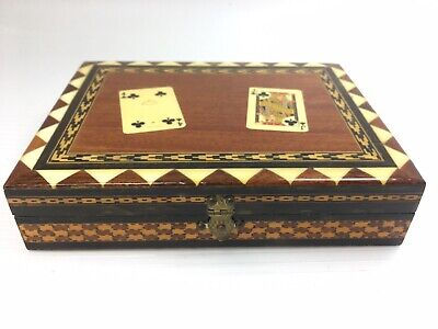 Vintage Lacquered Inlaid Wooden Playing Cards Box
