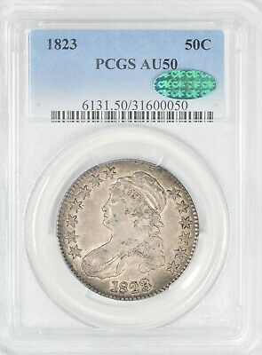 1823 Capped Bust Half Dollar O-108a Repaired 3 PCGS AU50 CAC #BHS1