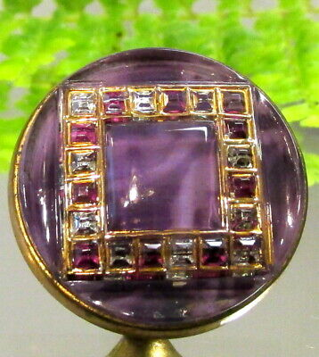 Stunning Antique Satiny Purple Glass Button W/ Faux Invisibly Set Stones D18