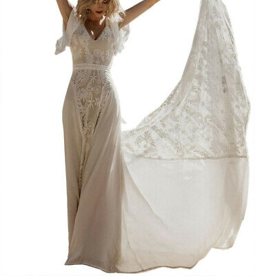 Beautiful White Chiffon and Lace Wedding Dress with flutter sleeves Size 10, NWT