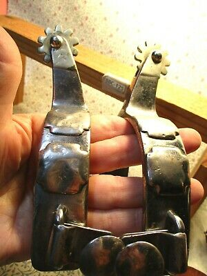SILVER MOUNTED ~CROCKETT! Hand Made Cowboy Man Size Spurs Authentic & Antique