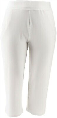 Belle Kim Gravel Lovabelle Lounge Cropped Pants White 1X NEW A351606