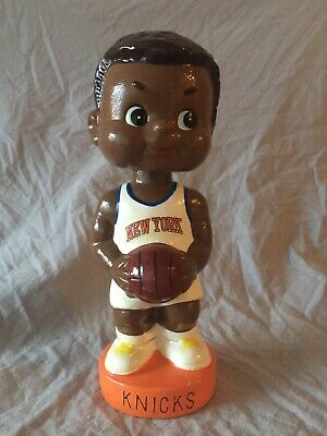 New York Knicks Black Vintage Bobblehead Bank Nodder Extremely Rare! NM With BOX