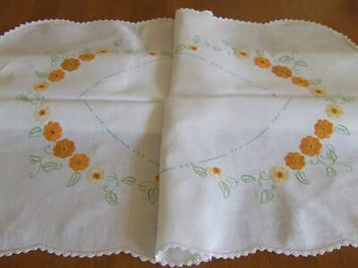 Lovely Hand Embroidered Vintage Tablecloth -Orange/Yellow Florals - Crochet Edge
