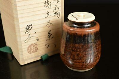 A8050: Japanese Seto-ware Brown glaze TEA CADDY Chaire Container w/signed box