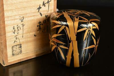 A8044: Japan Wooden Lacquer ware TEA CADDY Natsume Chaire Container w/signed box