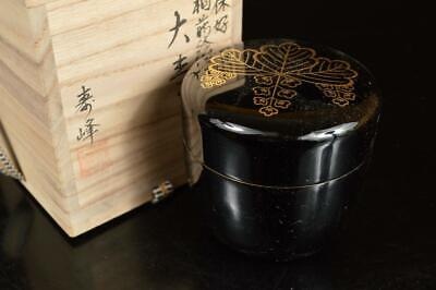 A8014: Japanese Wooden Lacquer ware TEA CADDY Natsume Container, w/signed box