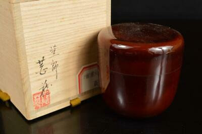 A8012: Japan Wooden Lacquer ware TEA CADDY Natsume Chaire Container w/signed box