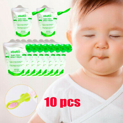 10 Pcs Baby Food Pouches Feeding Supplies Bag Double Zippers Reusable Food Boxes