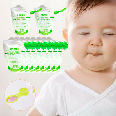 10 PCS Baby Kids Food Pouches Feeding Bag Double Zippers Reusable Food Boxes