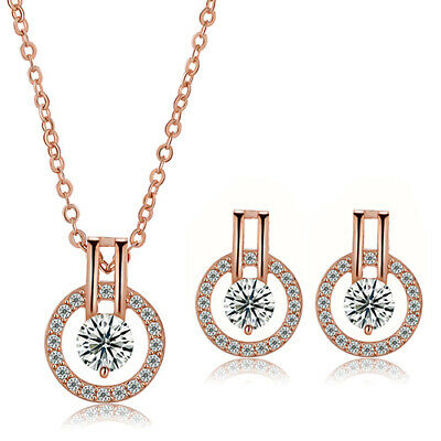Women Zircon Round Pendent Choker Chain Necklace Earrings Wedding Jewelry Set