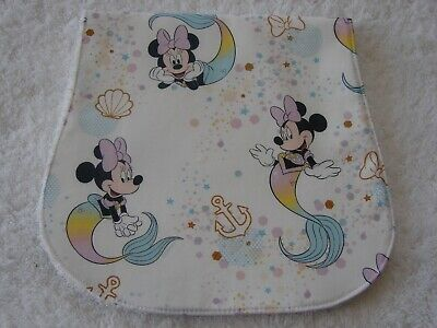 Mermaid Minnie White Burp Cloth Cotton Front Towelling Back Handmade