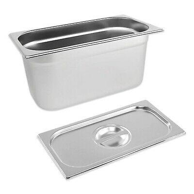 STAINLESS STEEL PAN POT GASTRONORM 1/3 CONTAINER WITH LID 150mm DEEP BAIN MARIE