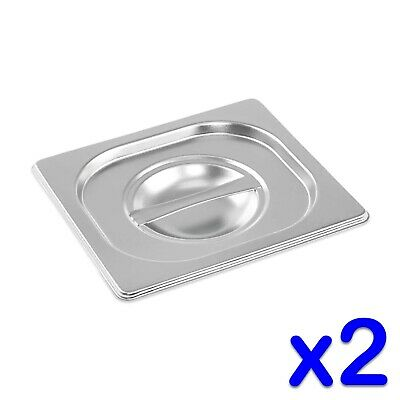 STAINLESS STEEL CONTAINER LIDS x 2 GASTRONORM 1/6 SIZE BAIN MARIE FOOD PAN POT