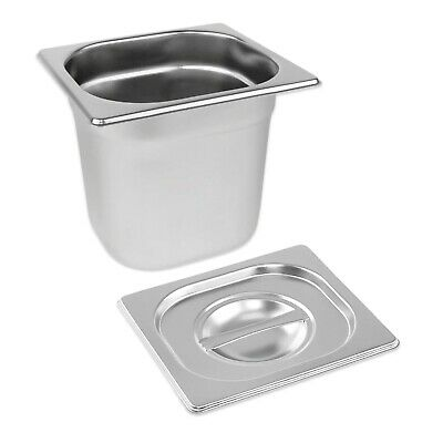 STAINLESS STEEL PAN TRAY GASTRONORM 1/6 CONTAINER WITH LID 150mm DEEP BAIN MARIE