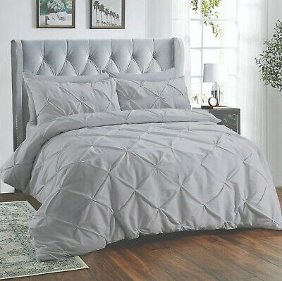 Silver Pintuck Bedding Duvet Set Quilt Bed Covers 100% Egyptian Cotton All Sizes