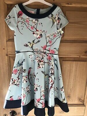 Ted Baker Kids Dress, Floral Print, Pale Green, Age 9-10 years