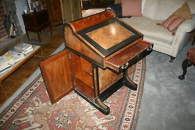 Antique:l Victorian butt walnut, burr elm and ebonised Davenport desk c1885