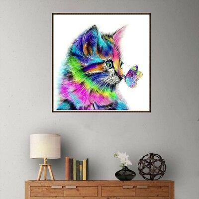 AU_ KF_ Colorful Cat Butterfly Full Drill Resin Diamond Painting Cross Stitch Ki