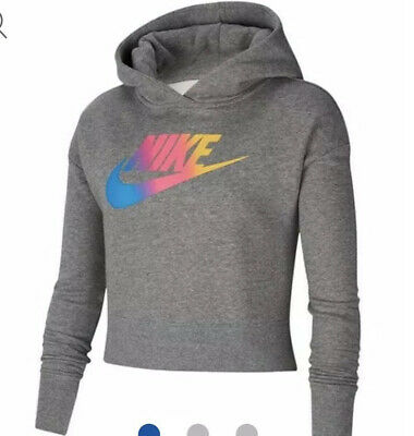 NIKE Sportswear Cropped Hoodie Girls Carbon Size 13-15years