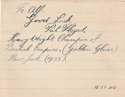 Boxing Champion Pat Floyd Hand Signed & Dedicated Page