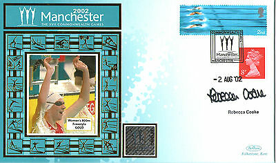 2002 Commonwealth Games Benham Cover Signed Swimmer Rebecca Cooke
