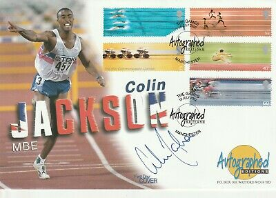 16 July 2002 Commonwealth Games Fdc Hand Signed By Colin Jackson Shs