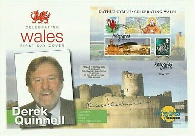 26 Feb 2009 Celebrating Wales Ms Fdc Hand Signed By Rugby Star Derek Quinnell