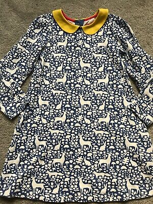 Mini Boden Girls Peter Pan Collar Woodland Dress Age 6-7 years Forest Ex Cond