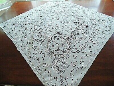 lovely cotton blend lace square tablecloth, off white with flowered design