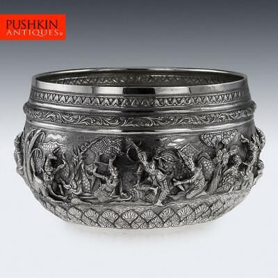 ANTIQUE 19thC EXCEPTIONAL BURMESE SOLID SILVER THABEIK BOWL, RANGOON c.1880