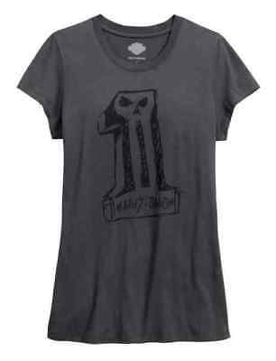 Harley-Davidson Black Label Womens #1 Skull Grey Short Sleeve Shirt 9- MEDIUM