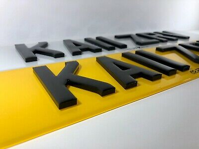 Pair Of Road Legal Front & Rear4D 3D 5MM Thick Laser Cut Number Plates Gel Top