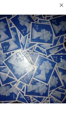 2nd Class Unfranked Stamps Off Paper No Gum X100 All Got Security Tabs