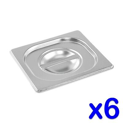STAINLESS STEEL CONTAINER LIDS x 6 GASTRONORM 1/6 SIZE BAIN MARIE FOOD PAN POT