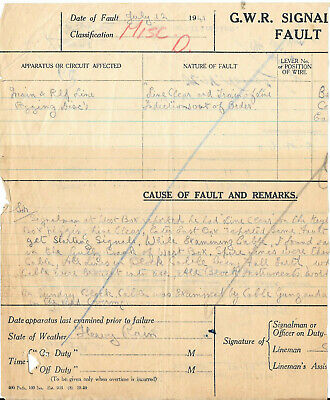 GWR Great Western Railway signal fault and invoice 1941, 1946