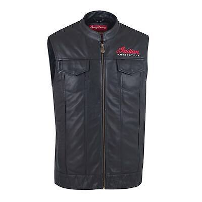 Indian Motorcycle Mens Casual Zip-Up Outsider Leather Vest.