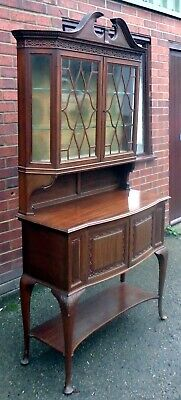 Edwardian antique Gillows solid mahogany display collectors cabinet bookcase