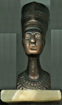 Ancient Egyptian Queen, Small Head, Heavy Weight Metal Statue on Marble Base