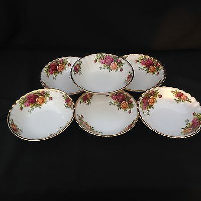 ROYAL ALBERT OLD COUNTRY ROSE Set Of Six Small Fruit Bowls 15.5  Cm 1st Quality