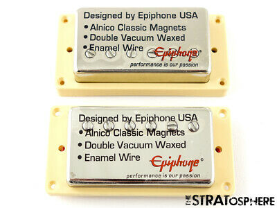 "~Epiphone '57 Classic Alnico HUMBUCKER PICKUP SET for Les Paul SG ""Nickel/Cream"""