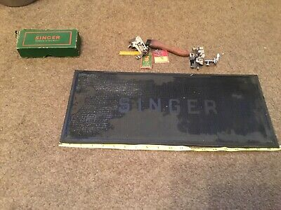 Vintage Singer Sewing Machine mat And Some Attachments In Orig  Box Approx 1951