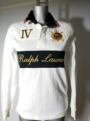 Ralph Lauren Designer Mens White Gold Black Polo Long Sleeves Shirt Top S/P 36