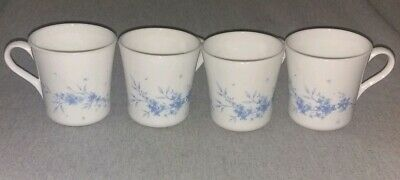 Vintage Corning Corelle Set of 4 Celestial Blue Floral Coffee Cups