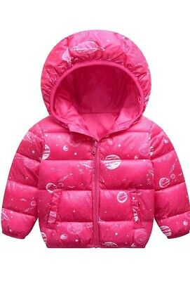 Pink Retro Style Solar System Planet Space Down puffa Jacket Coat 5-6 yrs New