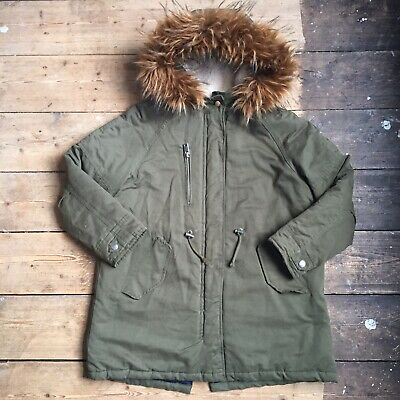 Zara Girls Green Parker Coat With Faux Fur Hood Age 10 Years