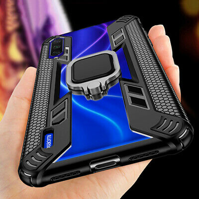For Xiaomi Redmi Note 8 Mi Note 10 Pro A3 9T Metal Rugged Armor Ring Case Cover